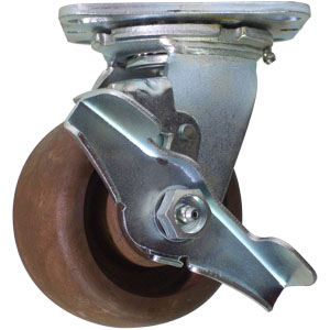 SWL 4x2 (HT) GL/NYLON PLT RB BRK  - Swivel Plate / Brake ( Top Lock ) - CASTERS