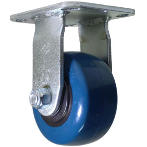 RGD 4x2 URE/POLYO BLUE/BLK PLT RB  - Industrial Casters - CASTERS