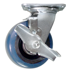 SWL 5x2 URE/POLYO BLUE/BLK RB BRK  - Swivel Plate / Brake ( Top Lock ) - CASTERS