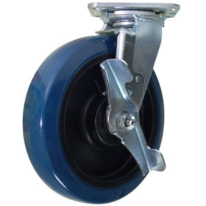 SWL 8x2 URE/POLYO RB BLUE/BLK BRK  - 800 - 899 Lbs            ( 363 - 408 kg ) - CASTERS