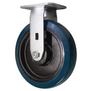 RGD 8x2 URE/POLYO BLUE/BLK PLT RB  - 8 in.             ( 203 mm ) - CASTERS