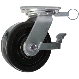 SWL 8x3 PHEN BLK PLT RB FBRK 4PSL  - Industrial Casters (HD 2000+ lbs) - CASTERS