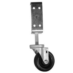 DOOR CASTER BRACKET + 4 IN CASTER BLACK  - CASTERS