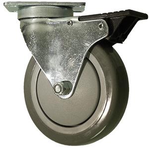 SWL 5x1-1/4 URE/POLYO GR PLT BB TLB  - Swivel Plate / Brake ( Total Lock ) - CASTERS