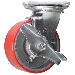 SWL 5x2 URE/CAST RB PLT BRK  - Swivel Plate / Brake ( Top Lock ) - CASTERS