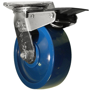 SWL STNLS 6x2 SOL/ URE BLUE PLT DEL TLB  - Solid Urethane - CASTERS