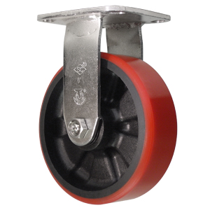 SS RGD 6x2 URE/GLNY RED/BLK DEL PLT  - Stainless Rigid ( Plate ) - CASTERS