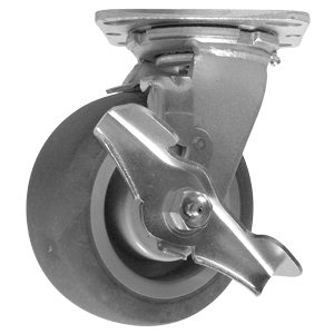 SWL 5x2 GR RUBB EL PLT RB BRK  - Swivel Plate / Brake ( Top Lock ) - CASTERS