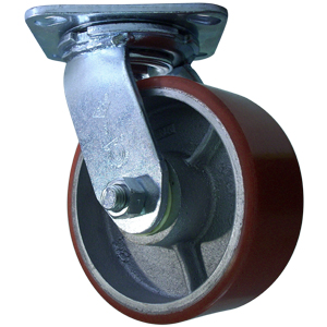 SWL 5x2 URE/CAST RED/SIL PLT RB  - Urethane / Cast Iron - CASTERS