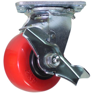 SWL 4x2 URE/POLYO PLT RB BRK  - Swivel Plate / Brake ( Top Lock ) - CASTERS