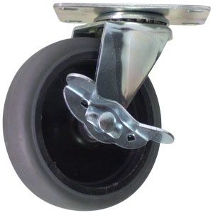 SWL 4x1 GR RUB/POLYO PLT BRAKE  - Swivel Plate / Brake ( Side Brake ) - CASTERS