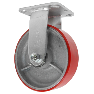 RGD 6x2 URE/CAST RED/SIL PLT RB  - Urethane / Cast Iron - CASTERS