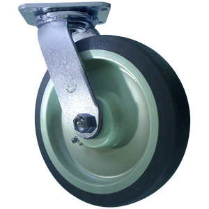 SWL 8x2 GREY RUBBER PLT RB  - 600 - 699 Lbs            ( 273 - 317 kg ) - CASTERS