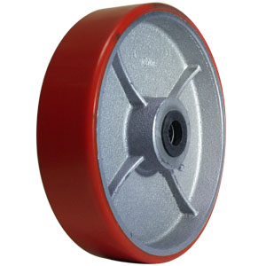 WHL 8x2 URE/CAST RED/SIL 3/4 RB  - Urethane / Cast Iron - WHEELS