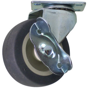 SWL 2-1/2x13/16 GR RUBB/BG POLYO PLT PB BRK  - Thermoplastic Rubber / Polyolefin - CASTERS
