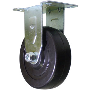 RIG 4x1.25 H.R. PLT PB  - Hard Black Rubber - CASTERS