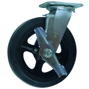 SWL 8x2 RUBB/CAST PLT RB BRK  - Rubber / Cast Iron - CASTERS