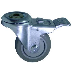 SWL 3 x 1-1/4 URE/POLYO BB 1/2 BH TLB  - Swivel 1/2 Bolt Hollow Hole / Brake ( Total Lock ) - CASTERS