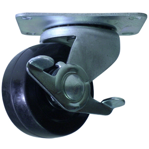 SWL 3'' S.R. PLT BRAKE************  - Soft Black Rubber - CASTERS