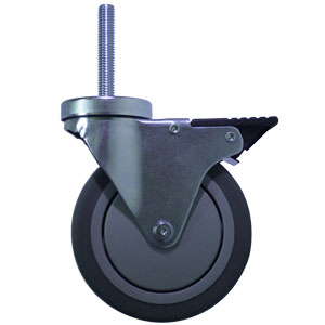 SWL 5x1.25 GRRUB .5 THD TLB BLK  - Swivel 1/2 Bolt Hollow Hole / Brake ( Total Lock ) - CASTERS