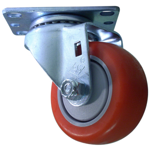 SWL 3 x 1-1/4 RED URE / POLYO PLT BB  - Red / Grey - CASTERS