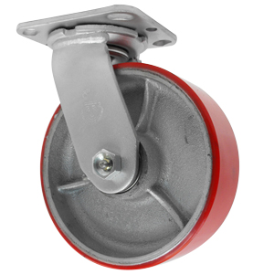 SWL 6x2 URE/CAST RE/SIL PLT RB  - Red / Silver - CASTERS
