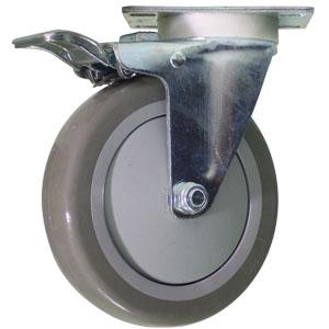 SWL 5x1.25 URE/POLYO GR BB PLT TLB  - Swivel Plate / Brake ( Total Lock ) - CASTERS