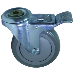 SWL 4 x 1-1/4 URE/POLYO BB 1/2 BH TLB  - Swivel 1/2 Bolt Hollow Hole / Brake ( Total Lock ) - CASTERS