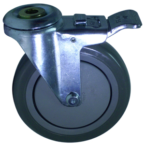 SWL 5 x 1-1/4 URE/POLYO BB 1/2 BH TLB  - Swivel 1/2 Bolt Hollow Hole / Brake ( Total Lock ) - CASTERS