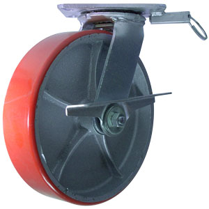 SWL 10x2.5 URE/CAST PLT RB BK 4SL  - Swivel Plate / Brake ( Side Brake ) - CASTERS