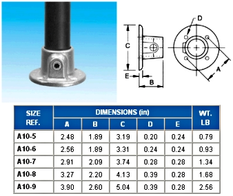 STANDARD FLANGE  (BASE)   - ALVIN  KEY  CLAMPS
