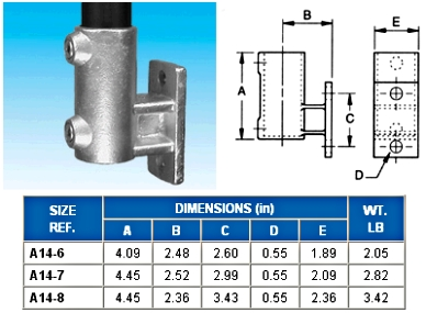 OFFSET VERT. RAILING FLANGE (BASE)  - - NONE -  - ALVIN  KEY  CLAMPS