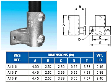 OFFSET RAILING FLANGE (BASE)  - Flange ( Base )  - ALVIN  KEY  CLAMPS