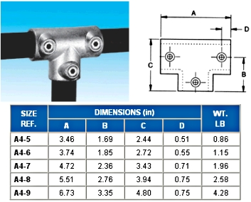 THREE SOCKET TEE 90D.  - - NONE -  - ALVIN  KEY  CLAMPS