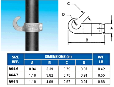HOOK FITTING FOR PIPE  - Fitting  - ALVIN  KEY  CLAMPS