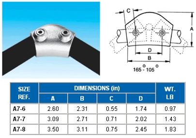 ELBOW 165-105 DEGREE VARIABLE  - Elbow  - ALVIN  KEY  CLAMPS